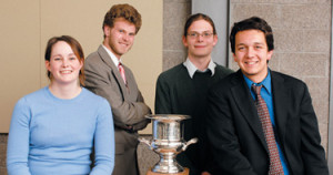 Parliamentary debate champions Meredith Price '07, Paul Bingham '05, Mitch Stromberg '05, a...