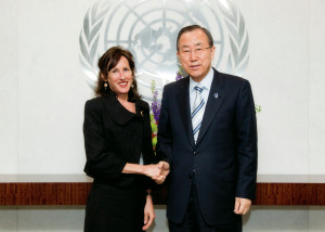 Cynthia Scharf and U.N. Secretary-General Ban Ki-moon