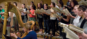 Women's Chorus rehearsal of the  Brahms Music for Women's Chorus, Harp, and Two Horns    Photo by...