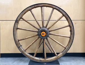 The Wagon Wheel trophy, with a new Lewis & Clark hubcap, on display in the Pamplin Sports Cen...