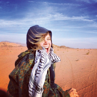 Samantha Robison B.A. '08 in Wadi Rum, Jordan (Photo by Leah O'Bryant).