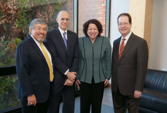 Justice Sotomayor with Rudy Aragon, Dean and Schnitzer Professor of Law Robert Klonoff, and President Barry Glassner.
