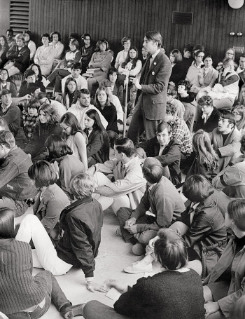 Callahan at a speak-out in Stamm Dining Room after the Kent State shootings in May 1970.