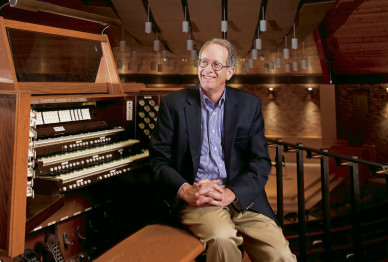 Lee Garrett, professor emeritus of music and curator of Lewis & Clark's Casavant organ.