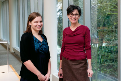 Casey Newbegin B.A. '12 and Rishona Zimring, associate professor of English.