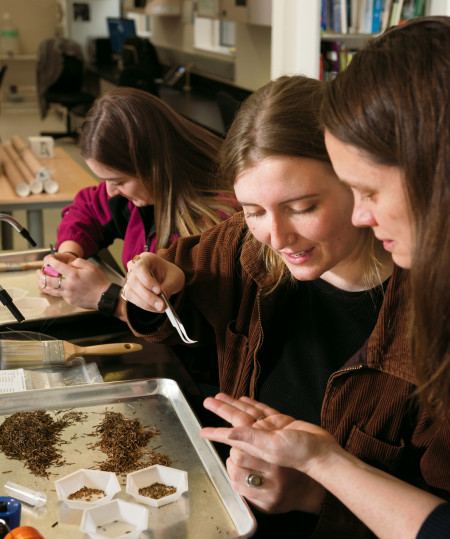 Emily Schmelling BA ?20, Alex Olsen BA ?20, and Assistant Professor Metz sort seed samples from t...