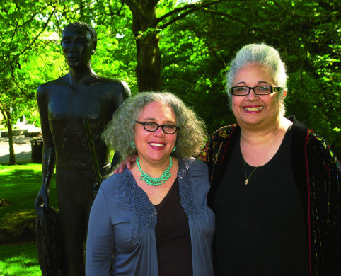 Valerie White (right) with artist Alison Saar at the dedication of York: Terra Incognita.