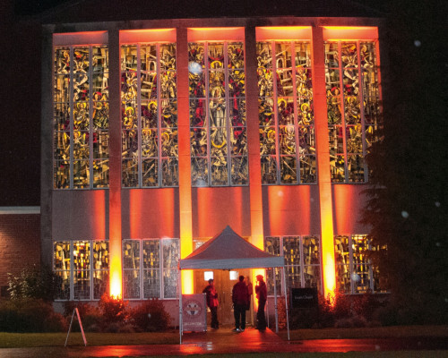 South Chapel, the event venue, illuminated at night.