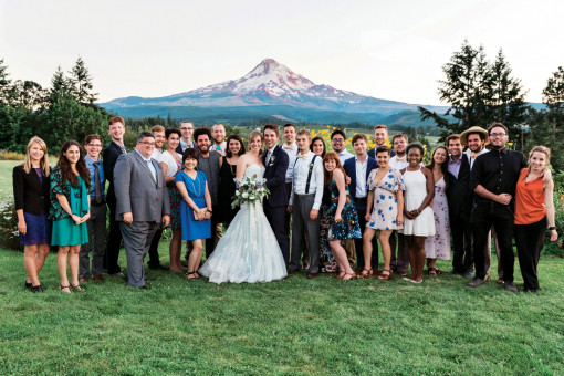 WEDDING BELLS—On July 31, Olivia Foster B.A. '13 and Jeffrey Rhoades B.A. '13 exchanged wed...