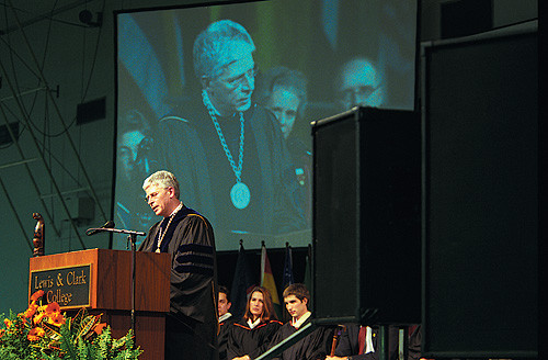 "President Hochstettler delivers his inaugural address, titled ""The Imperative to Explore."""