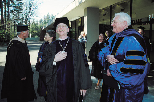 After the ceremony, President Hochstettler shares a hearty laugh with Reed College President Emeritus Paul Bragdon, who delivered the keynote address.
