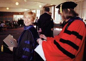 Carol Witherell, now professor emerita of education in Lewis & Clark's Graduate School of Education and Counseling, prepares for the faculty processional.