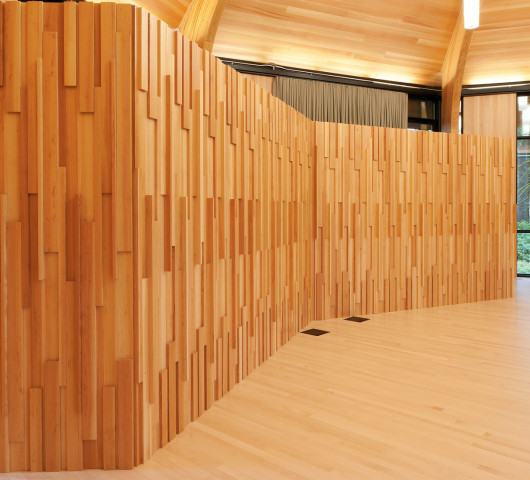 Much of the wood in Gregg Pavilion is Douglas Fir, which was milled from five trees that were loc...