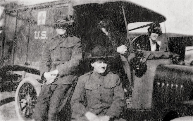 Captain Odell (left) at Camp Crane, Pennsylvania, May 1918.