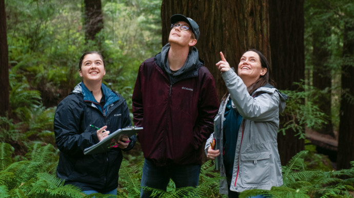 Assistant Professor of Biology Margaret Metz (center), Emily Schmelling BA '20, and Masten S...