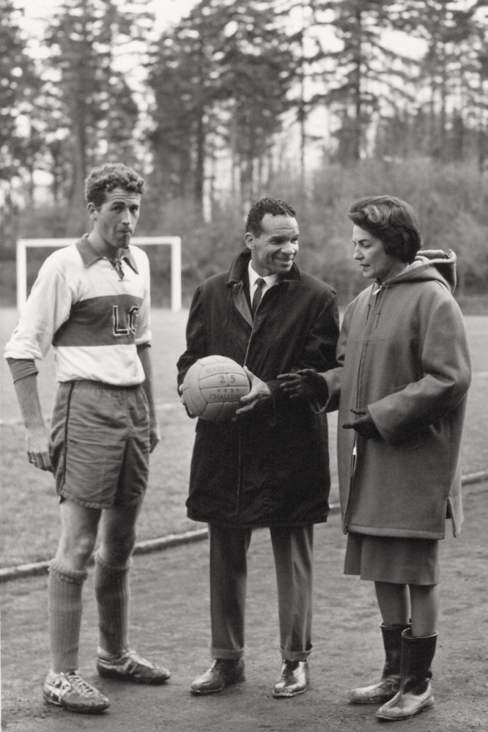 Turner with the men's soccer captain and coach at Lewis & Clark in the 1960s (Photo courtesy of John Turner).