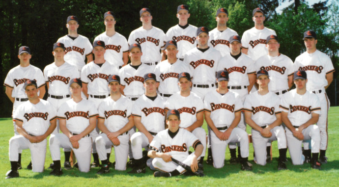 Jake Smith B.A. '93 (front row, far left) and the 1992–93 Lewis & Clark baseball team