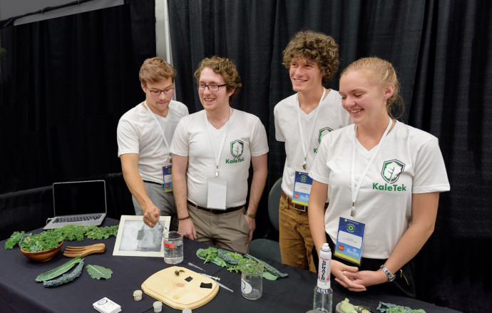 Cleantech Challenge finalists Ian Dechow BA '16, Joshua Proto BA '16, Blake Slattengren BA '18, and Emily Kelley BA '16. (Credit: PSU Center for Entrepreneurship)