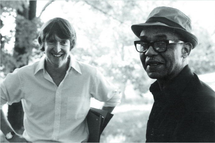 Callahan and Ralph Ellison at the author's summer home in Plainfield, Massachusetts, circa 1985.