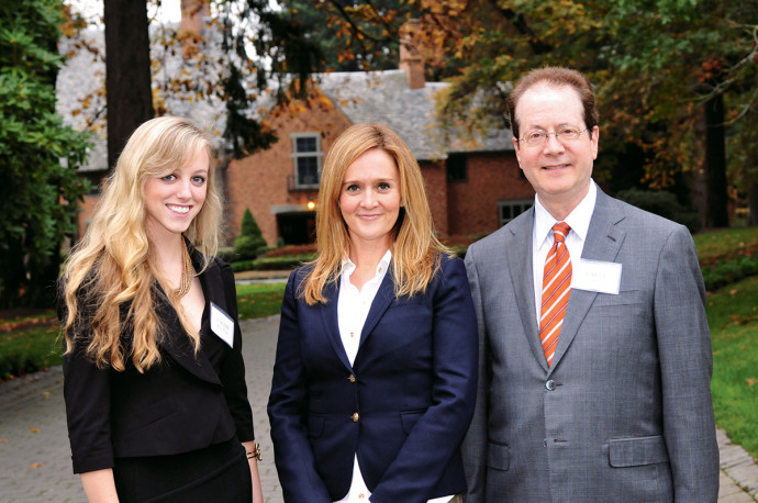 ASLC President Callie Rice CAS '14, Samantha Bee, and President Barry Glassner.