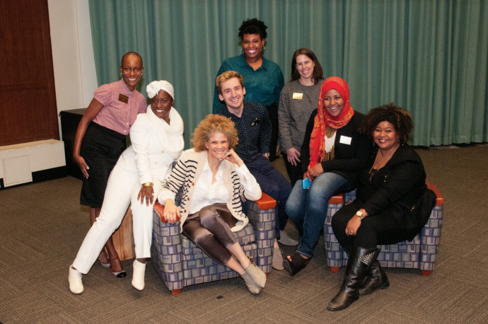 From left: Visiting Assistant Professor Kim Cameron-Dominguez, keynote Yaba Blay, keynote Michaela Angela Davis, cochair Tyler Wayne Patterson CAS '16, cochair Danni Green CAS '16, symposium faculty director Kimberly Brodkin, cochair Nima Mohamed CAS '16,  and keynote Patrice Grell Yursik.