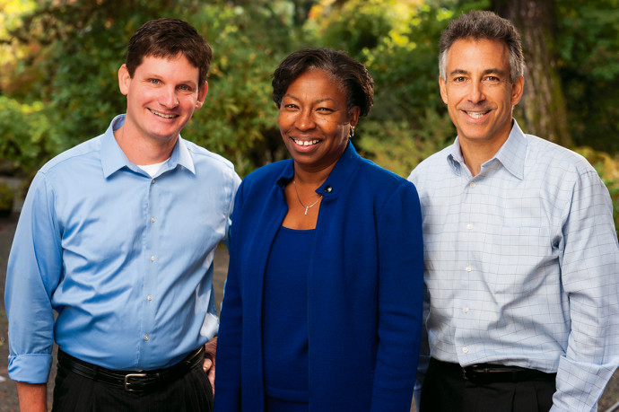 Brian Detweiler-Bedell, the center's academic director; Tuajuanda Jordan, dean of the College of Arts and Sciences; and Michael Kaplan, managing director of the center.