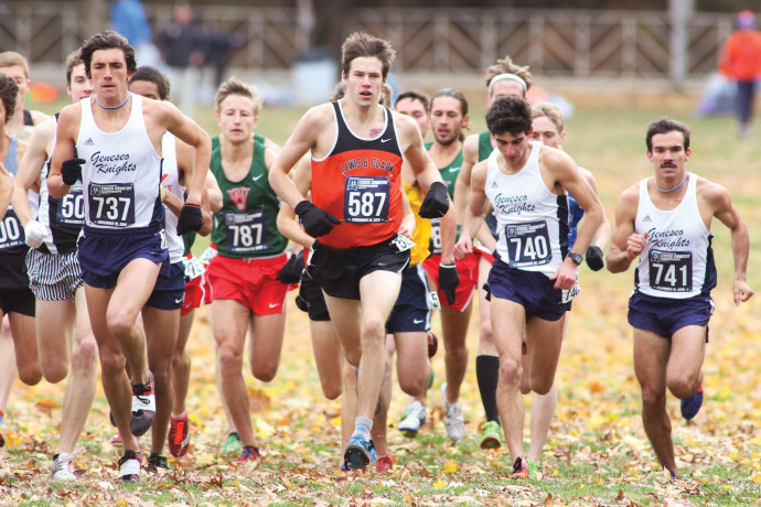 Liam Monheim BA '20, who was named the Northwest Conference's Freshman of the Year, races in the 300-person field at the NCAA Division III Cross Country Championships in Louisville, Kentucky.
