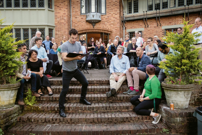 Staged reading of Šimek's translation of The Seagull, presented on the Frank Manor House step...
