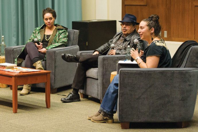"Keynote panelists from ""Healing Justice in Conversation"": Autumn Brown, Jerry Tello, and Carl..."