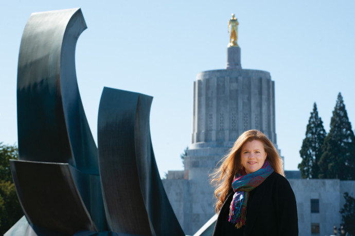 Amy Beacom BA '94 helped advocate for Oregon's new family and medical leave act, one of the mos...