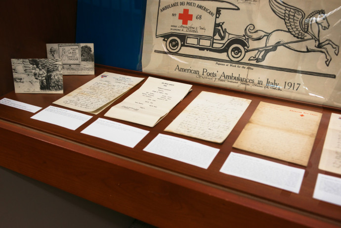 The items in the exhibition draw on a wide range of sources, including the wartime letters of Morgan Odell and the war medals collection of David Campion, Pamplin Associate Professor of History. Photo by Robert Reynolds.