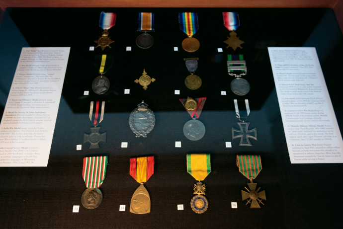 The items in the exhibition draw on a wide range of sources, including the war medals collection of David Campion, Pamplin Associate Professor of History. Photo by Robert Reynolds.