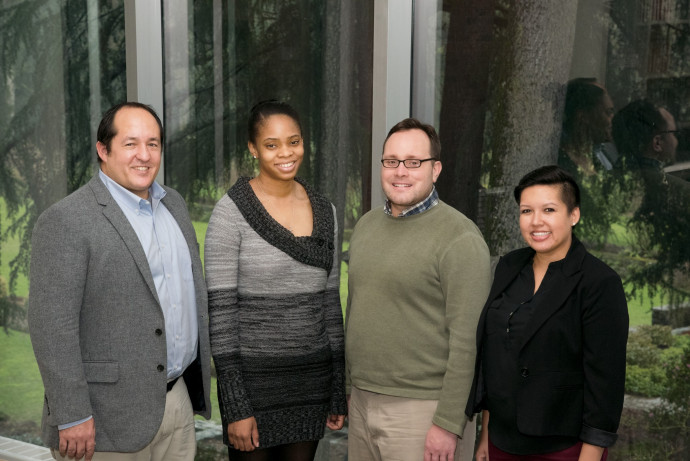 Last fall's program facilitators included (from left) Rocky Campbell BA '00, director of the Career Center; Asha Jordan, head women's basketball coach; Harold McNaron, director of Student Leadership and Service; and Angela Buck, area director.