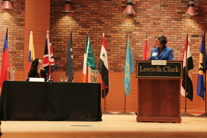 Jessica Vaughan (at podium) fields questions from moderator Heather Smith-Cannoy, associate professor and chair of international affairs. (Lexie Boren BA '19/Pioneer Log)