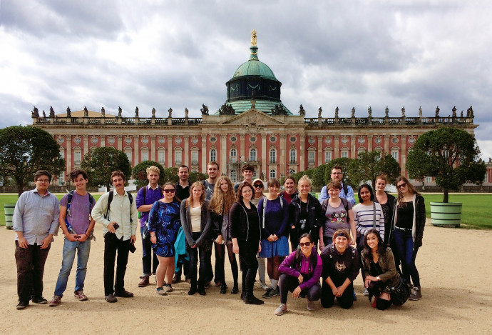 Lewis & Clark overseas study participants at the New Palace in Potsdam, just outside Berlin.
