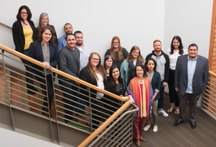 Law school student volunteers and faculty advisor for the CARA Pro Bono Project in Dilley, Texas. Back row: Maria Valdez, Lindsay Jonasson, Alex Boon, Hugo Gonzalez-Venegas, Natalie Barringer, Teresa Smith, Katharine Edwards, Cecilia Anguiano, Will Stevens, Amy Adams, Favio Perez. Front row: Maya Rinta, Jonny Gersten, Tessa Copeland, Iram Riaz, Professor Juliet Stumpf. (Robert Reynolds)
