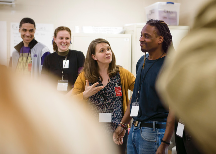 Rebecca Lingafelter (center), associate professor of theatre, helps students prepare a theatre pe...