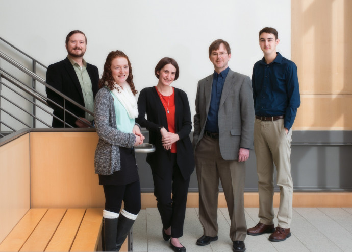 From left: Assistant Professor Ben Gaskins, Katie Kowal BA '17, Assistant Professor Ellen Seljan, Associate Professor Todd Lochner, and Zane Dundon BA '18. (Credit: Robert M Reynolds)