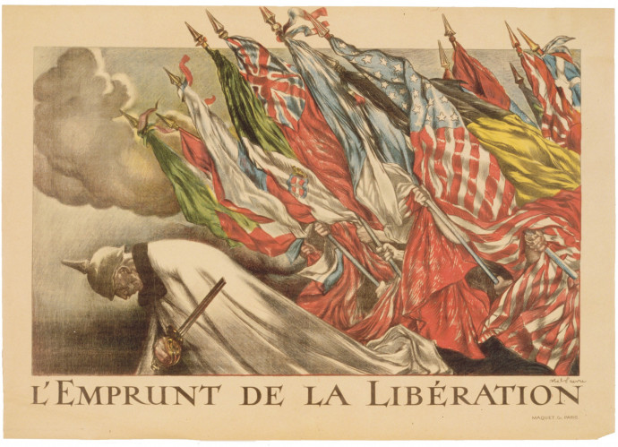 During the war, posters were a popular way to communicate infor- mation, both on the front and back home. This French poster, titled L'Emprunt de la Libération, 1918 (The Liberation Loan, 1918), shows the flags of various Allied nations bearing down on Kaiser Wilhelm II. It was designed to encourage contributions to the national War Loan to support the Allies.