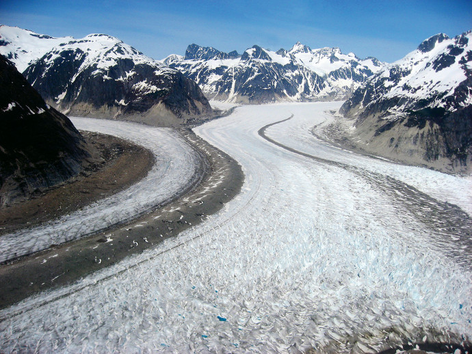 Two of the many glaciers in the Juneau Ice Field.