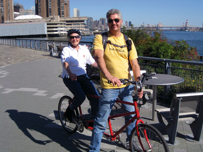 Turner cycling with her son, John Turner, near her apartment in New York City (Photo courtesy of John Turner).