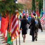 Reception – Following the installation ceremony, guests walked along a flag-adorned path to Lew...