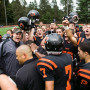 The Pioneers celebrate their 31-28 Homecoming win over Puget Sound.