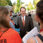 President Glassner greeting parents on move-in day.