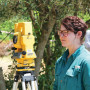 Grace Birdwell CAS '16 uses surveying gear to document the excavations.