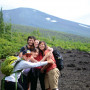 Halfway up Fuji, students share a group hug.