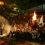 The climax of a fire festival in honor of the Fuji deity.