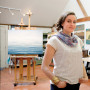 Jessica Pisano in her art studio on Martha's Vineyard.