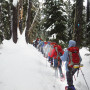 Anne Bentley, associate professor of chemistry, took students on a snowshoe hike to an ice cave o...