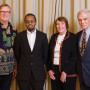 From left: Niels Marquardt BA '75, former Rwandan Peace Corps volunteer, four-time ambassad...